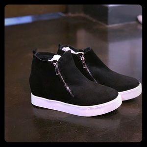 black suede wedge sneakers